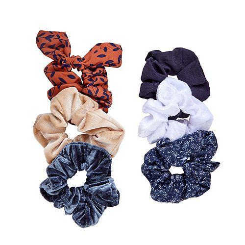 SO® Polka Dot & Paisley Print & Solid Scrunchie Set