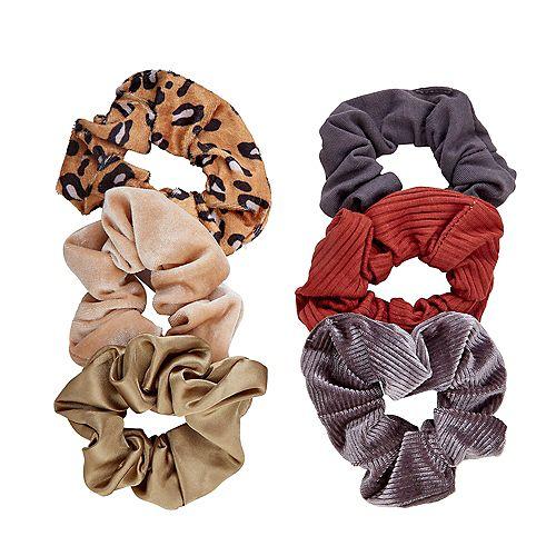 SO® Leopard Print & Solid Scrunchie Set