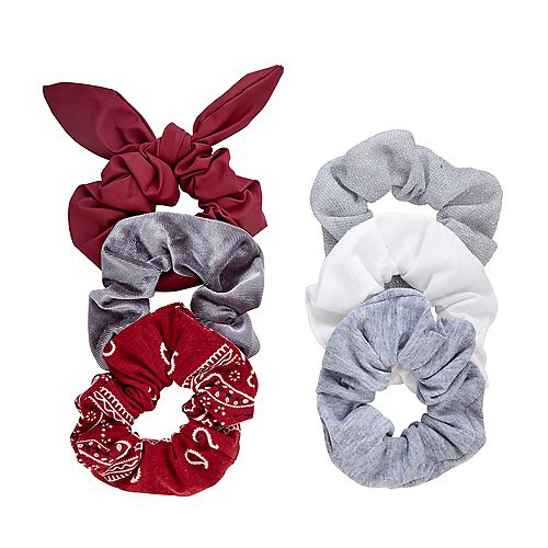 SO® Burgundy & Gray Scrunchie Set