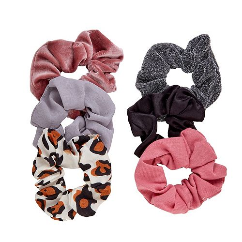 SO® Cheetah Print & Solid Scrunchie Set