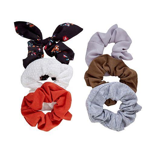 SO® Floral Print & Solid Scrunchie Set