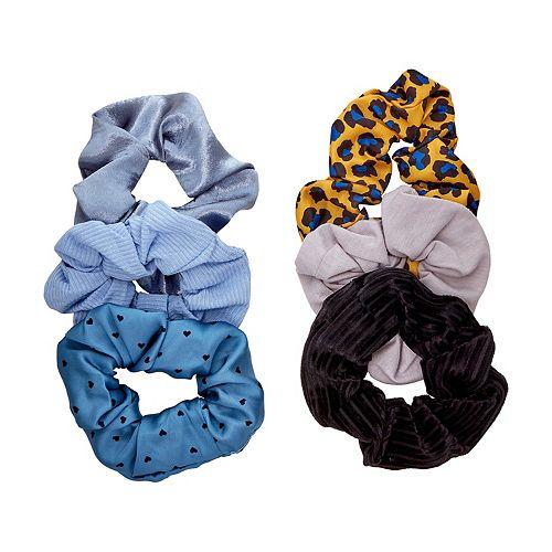 SO® Blue Cheetah Print & Solid Scrunchie Set