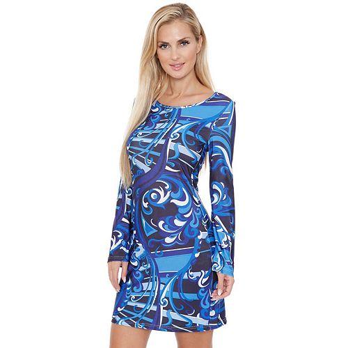 Women's White Mark Long Sleeve Geometric Print Dress