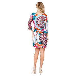 Women's White Mark Geometric Print Mini Dress