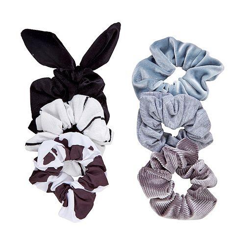 SO® Cow Print & Solid Scrunchie Set