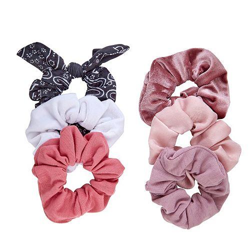 SO® Bandana Print & Rosey Solid Scrunchie Set
