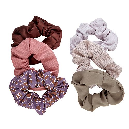 SO® Ribbed Solids & Print Scrunchie Set