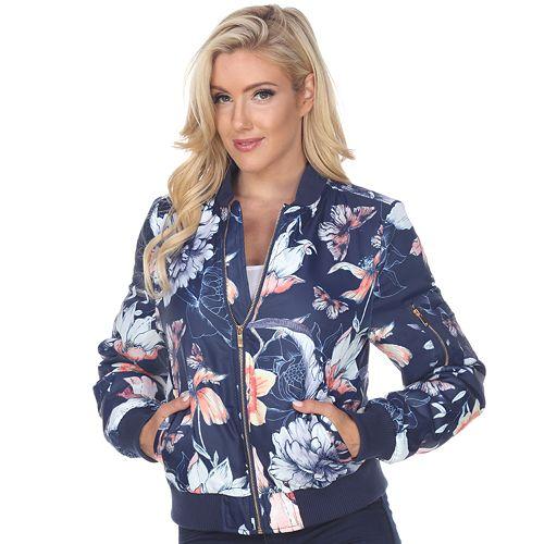 Women's White Mark Floral Bomber Jacket