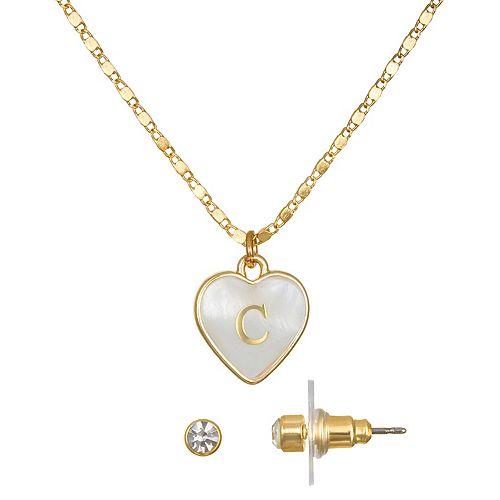 LC Lauren Conrad Initial Heart Necklace & Earrings Set
