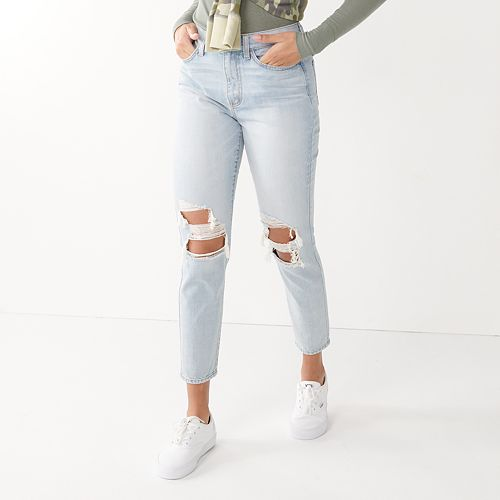 Juniors' SO® High Rise Distressed Mom Jean