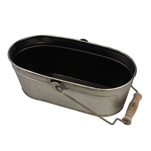 Small Oval Antique Silver Metal Bucket with Wooden Handle