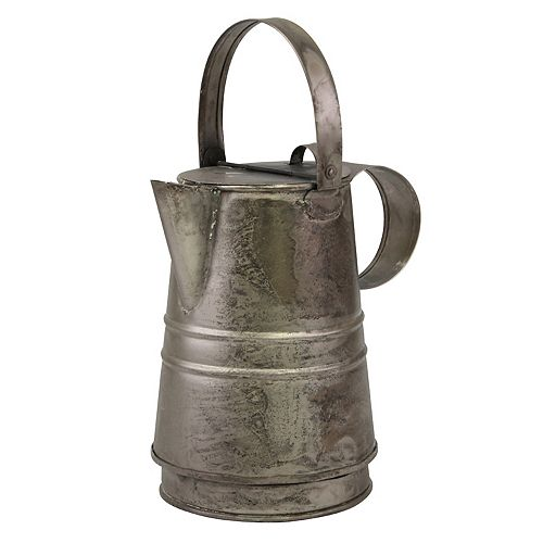 Decorative Antique Silver Metal Drinking Pitcher with Handle and Lid