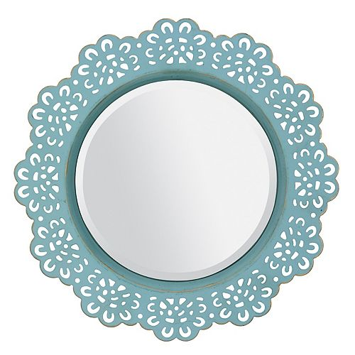 Round Decorative Metal Lace Hanging Wall Mirror - Blue