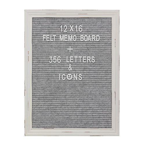 12x16 Gray Felt Memo Board with White Wash Wooden Frame