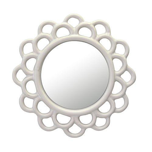 Decorative Round Ivory White Cutout Ceramic Wall Hanging Mirror