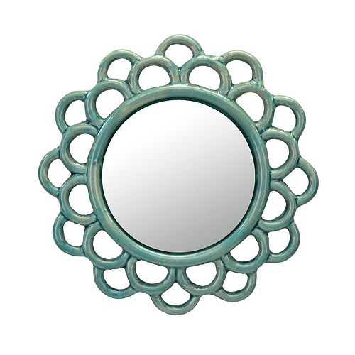 Decorative Round Turquoise Cutout Ceramic Wall Hanging Mirror