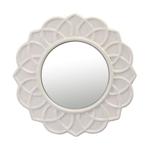 Decorative Round Ivory White Floral Ceramic Wall Hanging Mirror