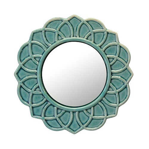Decorative Round Turquoise Floral Ceramic Wall Hanging Mirror