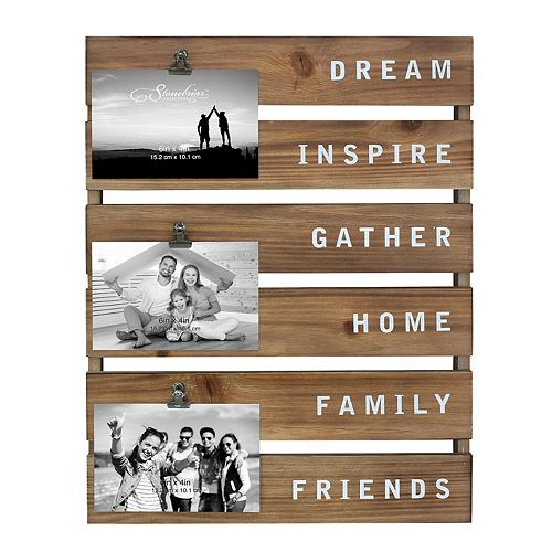 Inspirational Wood Collage Picture Frame with Rustic Metal Clips