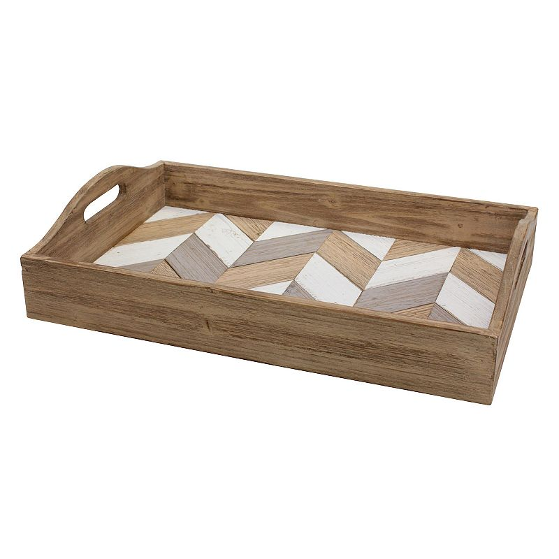 Rectangle Chevron Wood Serving Tray with Handles, Brown