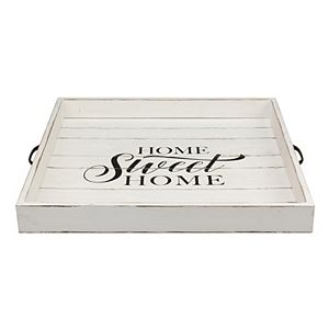 """Square Worn White """"Home Sweet Home"""" Wooden Serving Tray with Metal Handles"""