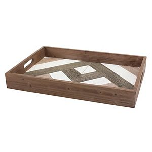 Rectangle Geometric Wooden Serving Tray with Handles