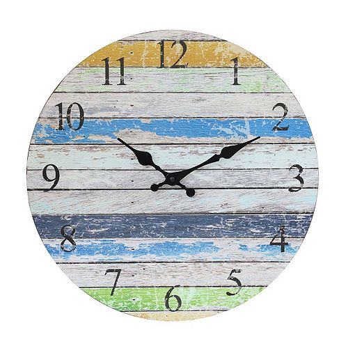 Vintage Farmhouse Worn Blue, Green, and White 14 Inch Round Hanging Wall Clock