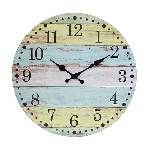 Vintage Farmhouse Light Blue and Worn Yellow 14 Inch Round Hanging Wall Clock