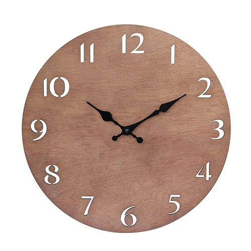 Modern Natural Wood 14 Inch Round Hanging Wall Clock with Cut Out Numbers