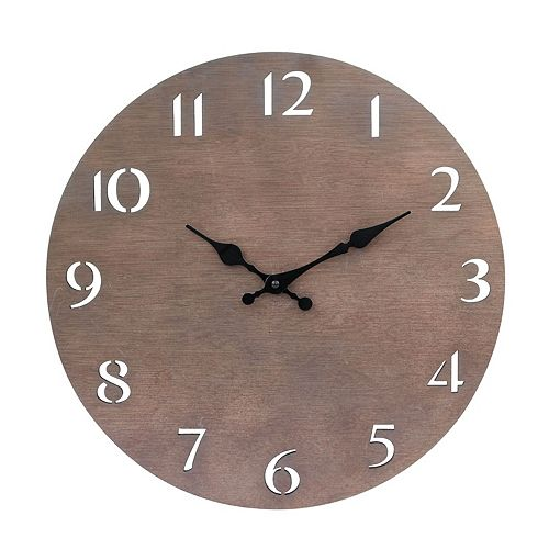 Modern Dark Natural Wood 14 Inch Round Hanging Wall Clock with Cut Out Numbers