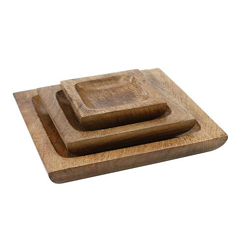Natural Mango Wood 3 Piece Serving Platter Set