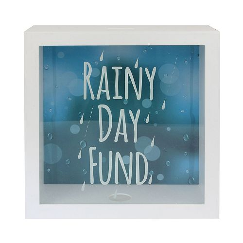 "10"" x 10"" White and Blue Rainy Day Emergency Fund Box"