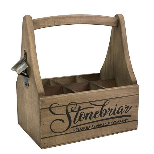 Wooden Beer Caddy with Handle and Metal Bottle Opener