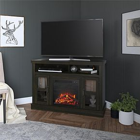 Ameriwood Home Tinley Park Corner TV Stand with Fireplace