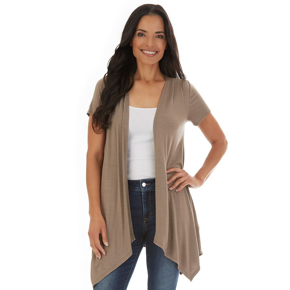 Women's Apt. 9® Hanky-Hem Crochet-Back Cardigan
