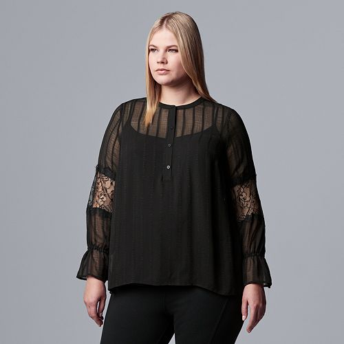 Plus Size Simply Vera Vera Wang Lace Sleeve Blouse