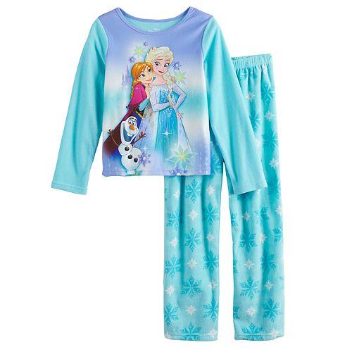 Girls 4-10 Disney's Frozen Anna & Elsa Fleece Top & Bottom Pajama Set