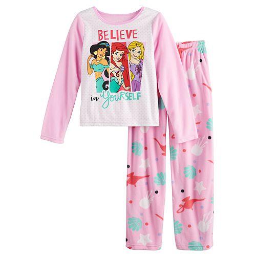 Girls 4-10 Disney Princesses Fleece Top & Bottom Pajama Set