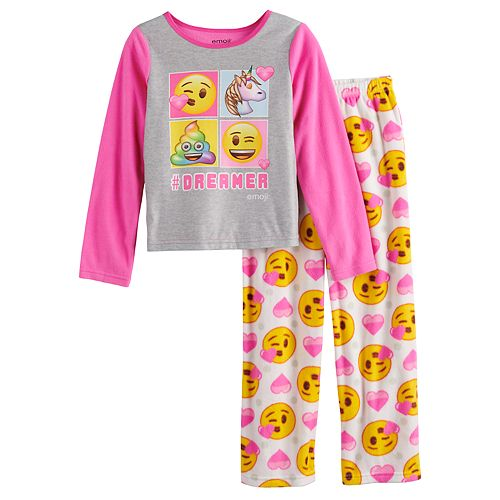 Girls 4-10 Emoji Fleece Top & Bottom Pajama Set