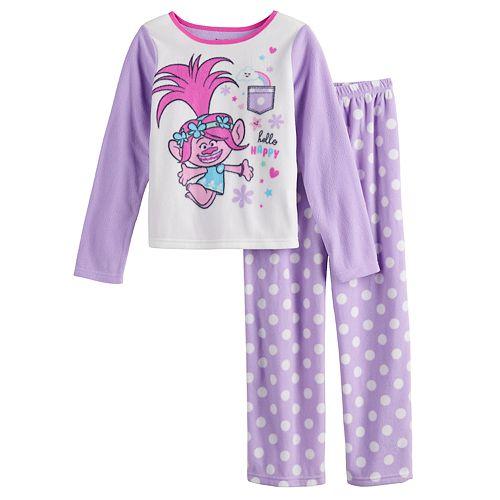 Girls 4-8 Trolls Poppy Fleece Top & Bottom Pajama Set