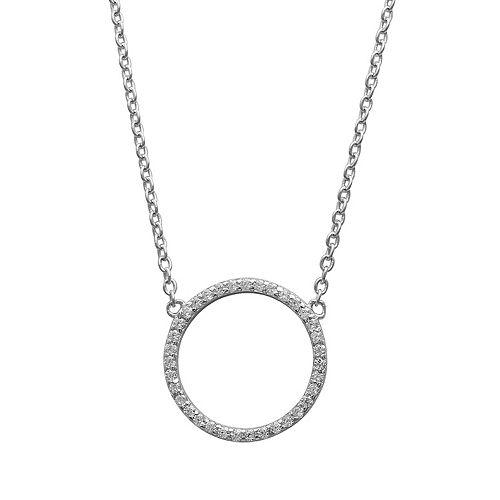 PRIMROSE Sterling Silver Cubic Zirconia Circle Necklace