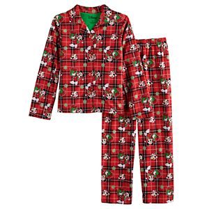 Girls 4-10 Disney's Minnie Mouse Plaid Button-Up Pajamas Set