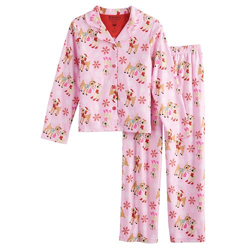 Girls 4-10 Rudolph the Red-Nosed Reindeer Button-Up Pajama Set
