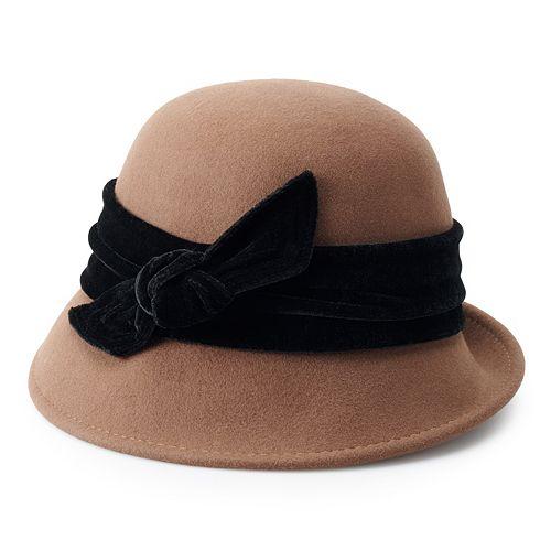 Women's Scala Wool Felt Cloche Hat with Velvet Trim