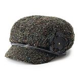 Women's Scala Boucle Newsboy Hat with Faux Leather Flower