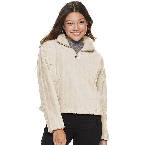 Juniors' Candie's® 1/4 Zip Faux Fur Pullover