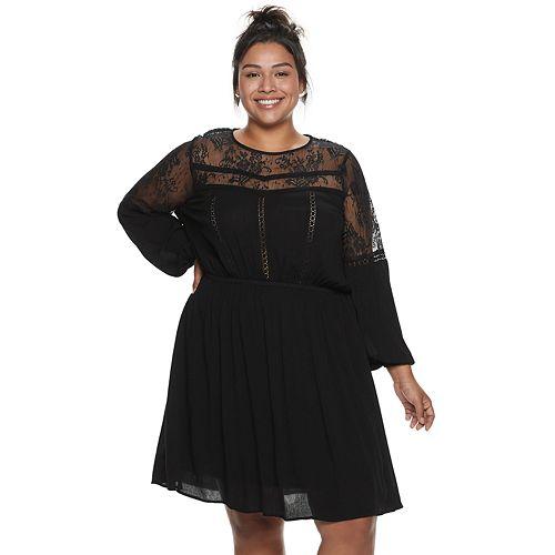 Juniors' Plus Size American Rag Illusion Lace Dress
