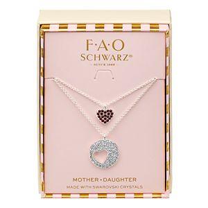 FAO Schwarz Fine Silver Heart Pendant with Swarovski Crystals Necklace Set