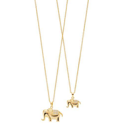 FAO Schwarz Two Tone Elephant Pendant with Cubic Zirconia Necklace Set