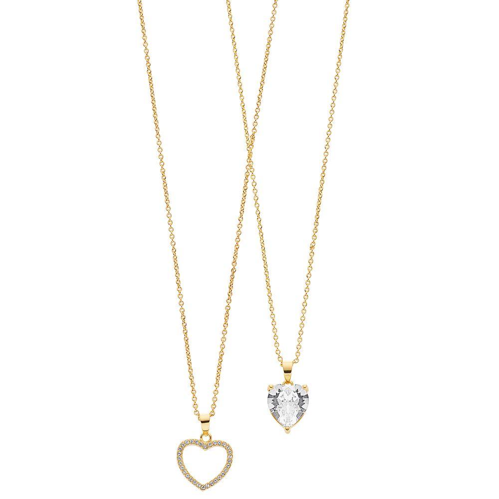 FAO Schwarz Two Tone Heart Pendant with Swarovski Stones Necklace Set